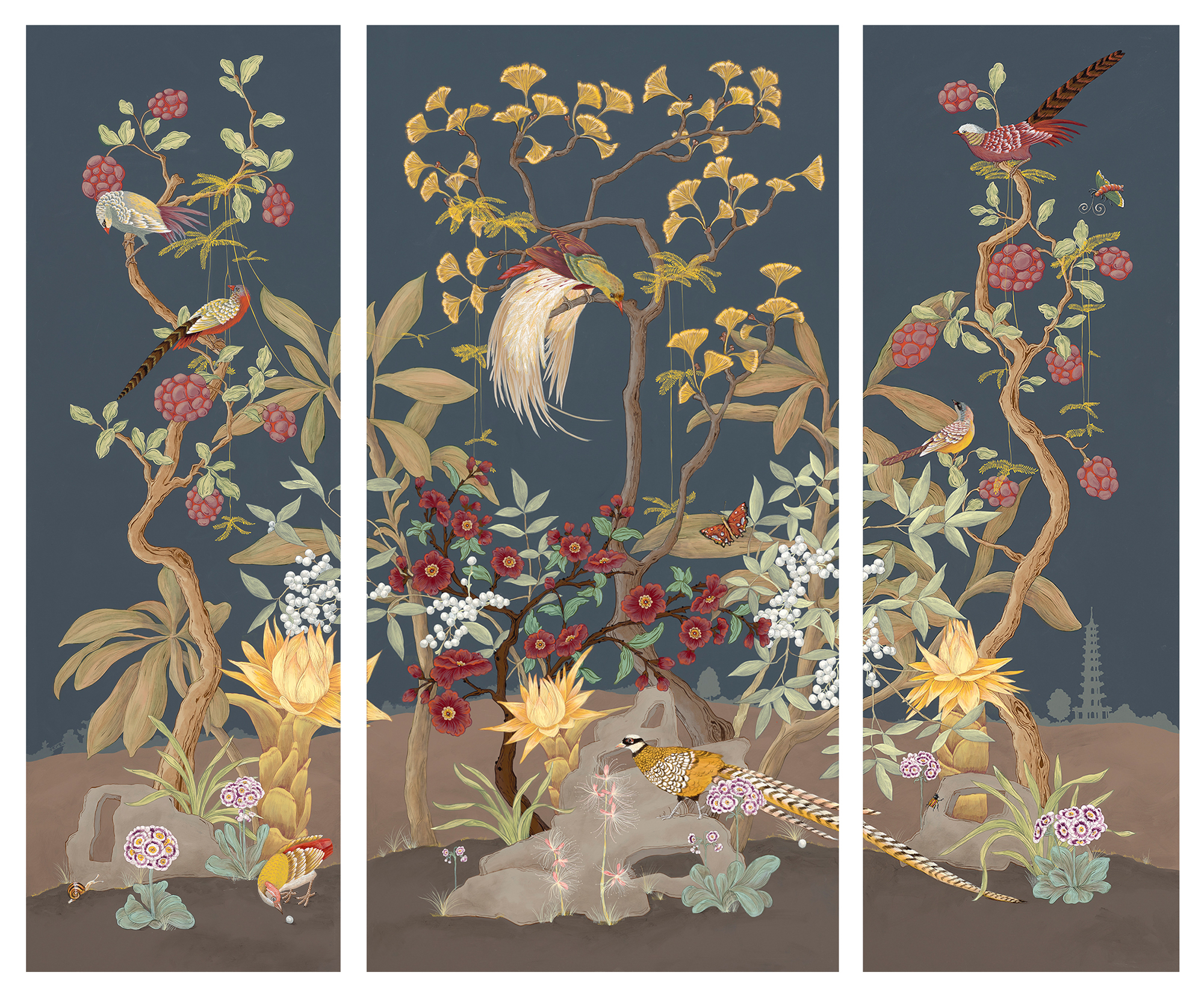 """Pheasants and Forest"" is a Modern style Chinoiserie triptych measuring 72"" high. The original is available in our ""shop"" and limited edition prints are offered to the trade via <a href='http://www.zoebioscreative.com/newest-edition/' target='_blank'>Zoe Bios Creative</a>."