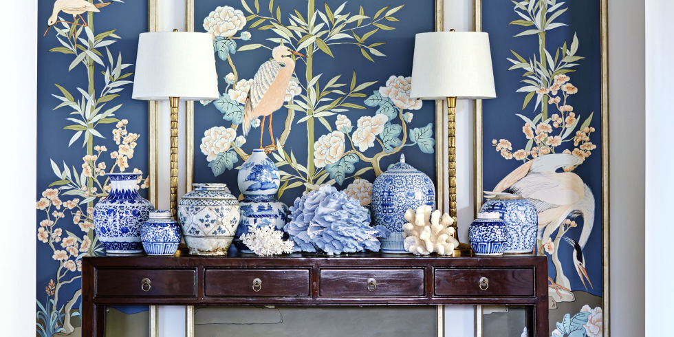 Chinoiserie art Allison Cosmos House Beautiful